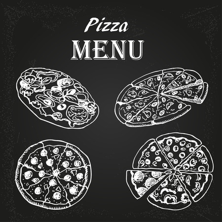 restaurant menu with pizza on the chalkboard Vector