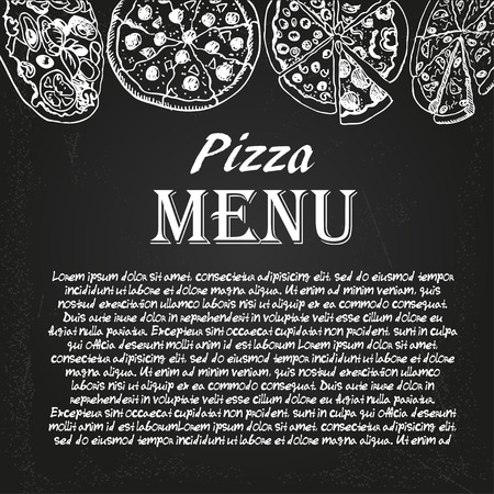 restaurant menu with pizza on the chalkboard