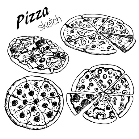 eatery: hand-drown  pizza on isolated background