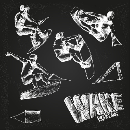 wakeboarding: wakeboarding set on the chalkboard