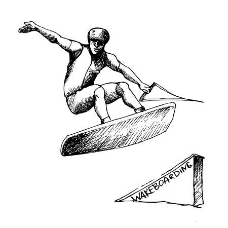 drown: Mano-ahogue wakeboarder en el fondo aislado