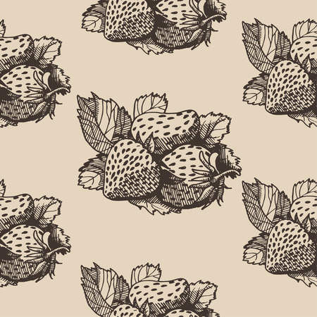 wild strawberry: strawberry, Vector hand drawing pattern
