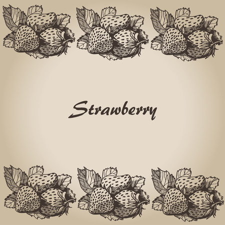 strawberry, Vector hand drawing card