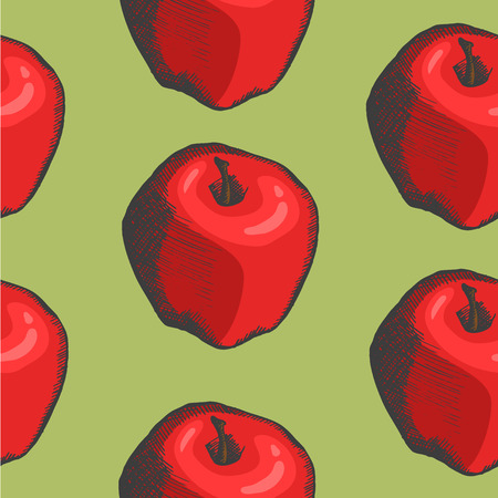 hand drown: pattern with vector hand drown apple Illustration