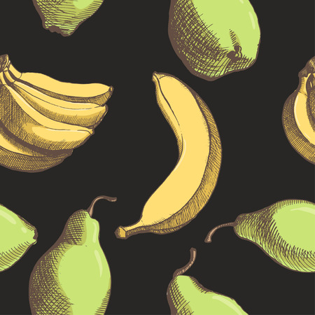 hand drown: pattern with vector hand drown banana, pear  Illustration
