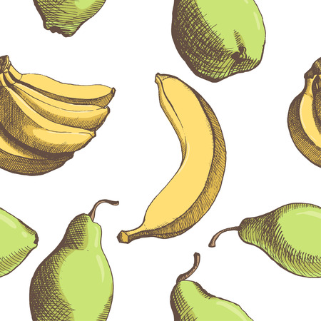 pattern with vector hand drown banana, pear  Illustration