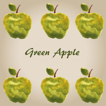 watercolor green apple