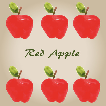 watercolor red apple