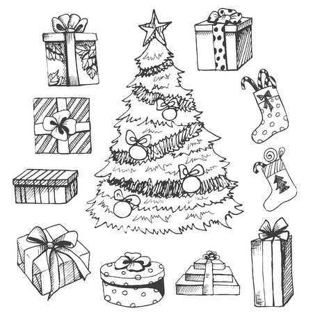 Xmas gift box  sketch Illustration