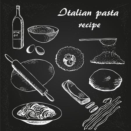 italian pasta: Dibujo vectorial resipe Pasta italiana en la pizarra; Vectores