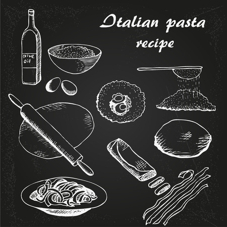 Italian Pasta resipe vector sketch on chalkboard;