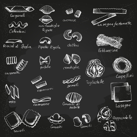 Italian Pasta vector sketch on chalkboard; Illustration