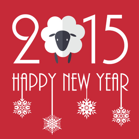 2015 New Year vector illustration with cute sheep Vector