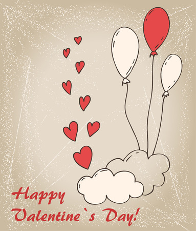 intensity: Valentin`s  Day card with balloons, cloud and hearts
