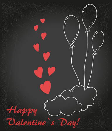 Valentin`s  Day card with balloons, cloud and hearts