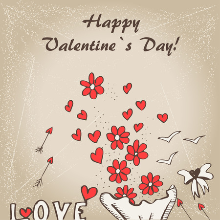 valentin's: Valentin`s  Day card with flowers, cupids arrows and birds Illustration