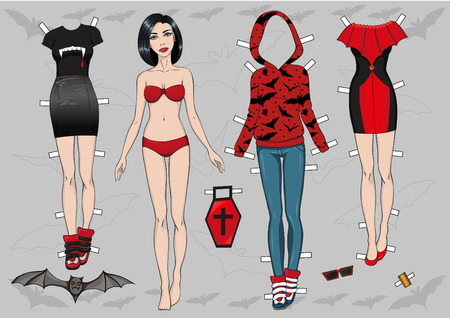vampire Paper doll and her wardrobe Vector