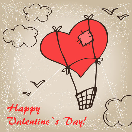 heart sketch: Valentine`s  Day card with balloon heart, sketch