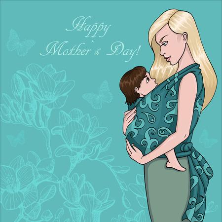 해피 어머니의 날의 카드. 그녀의 아이를 가진 아름 다운 어머니. 손을 빠져 벡터 일러스트 일러스트