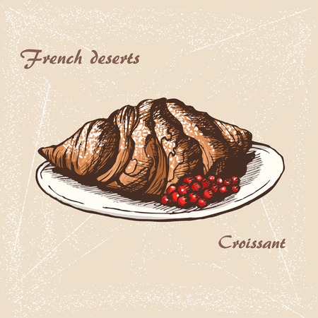 The sketch of Croissant, icon