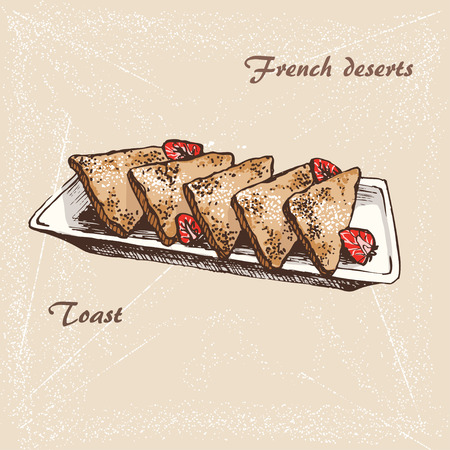 The sketch of French toasts