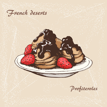 The sketch of French Profiteroles with chocolate and strawberry