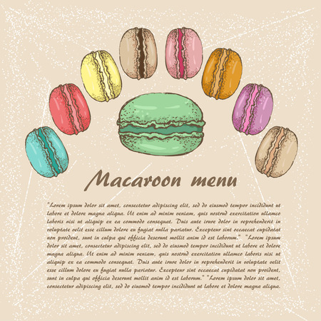 macaroon: The sketch of Macaroon. menu Illustration