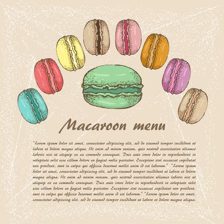 macaroon: The sketch of Macaroon. menu Illustration