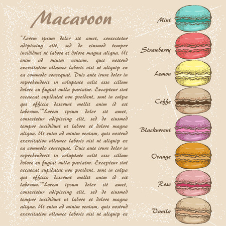 The sketch of Macaroon. menu Illustration