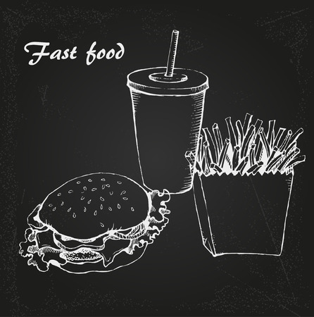 분필 보드에 콜라, 햄버거와 감자 튀김과 패스트 푸드 일러스트