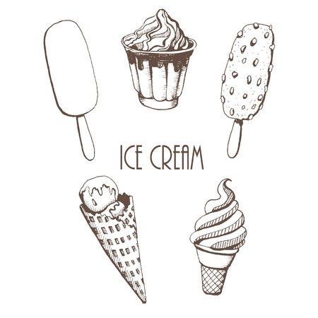 cartoons sweet: ice-cream. set of vector sketches