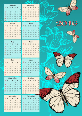 Calendar for 2016 with butterfly sketch
