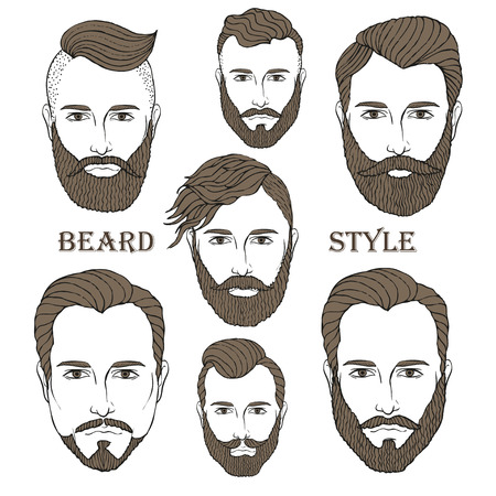 sideburn: Hand Drawn Beard Set Illustration