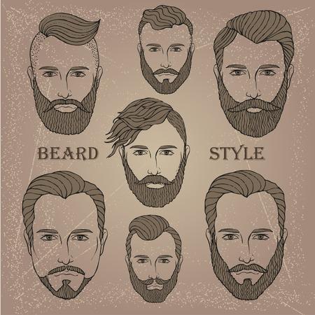 style goatee: Hand Drawn Beard Set Illustration