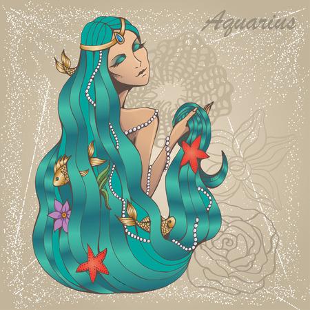 llustration of Aquarius astrological sign as a beautiful girl.