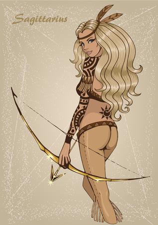 Zodiac: Sagittarius astrological sign as a beautiful girl. Illustration