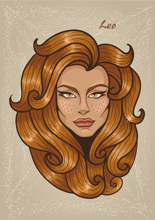 Zodiac: Illustration of Leo astrological sign as a beautiful girl. Vector art.