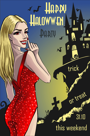 Halloween invitation with haunted house and vampire