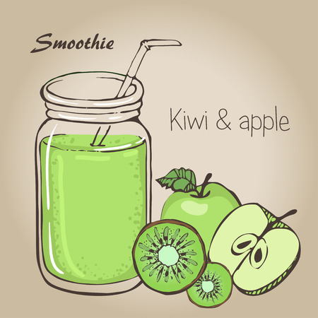 Apple and kiwi smoothie vector sketh. Natural bio drink, healthy organic food. Hand drawn vector illustration in doodle style