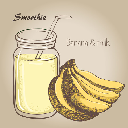 banana vector sketh. Natural bio drink, healthy organic food. Hand drawn vector illustration in doodle style