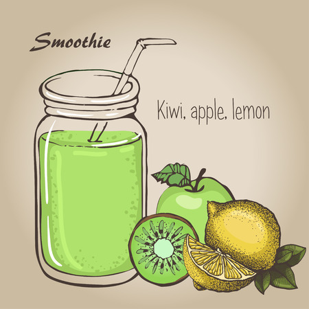 Lemon and  kiwi smoothie vector sketh. Natural bio drink, healthy organic food. Hand drawn vector illustration in doodle style