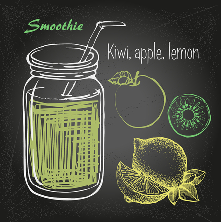 smoothie vector sketch. Natural bio drink, healthy organic food. Hand drawn vector illustration in doodle style