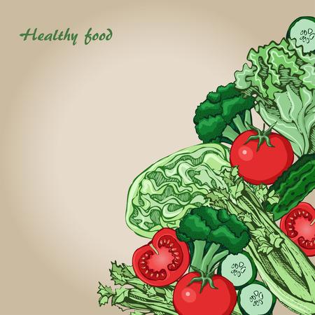 green vegetables: sketch of green vegetables, vector set, illustration