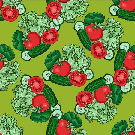 green vegetables: sketch of green vegetables , vector pattern, illustration Illustration
