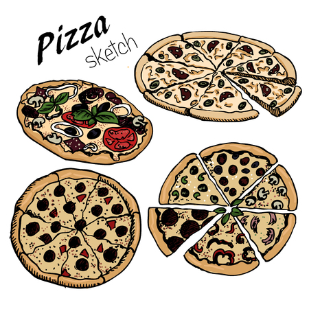 hand-drown   sketch of pizza set . Designe for menu