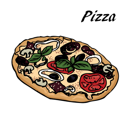 hand-drown   sketch of pizza. Designe for menu