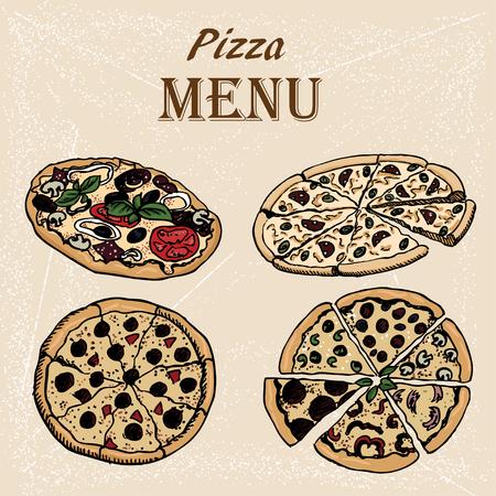 designe: hand-drown sketch of pizza set . Designe for menu Illustration
