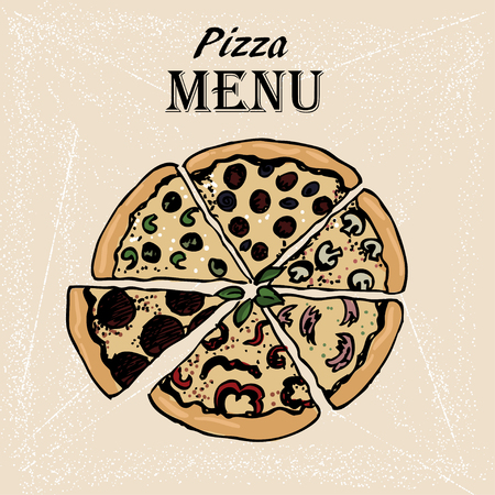 hand-drown   sketch of pizza. Design for menu