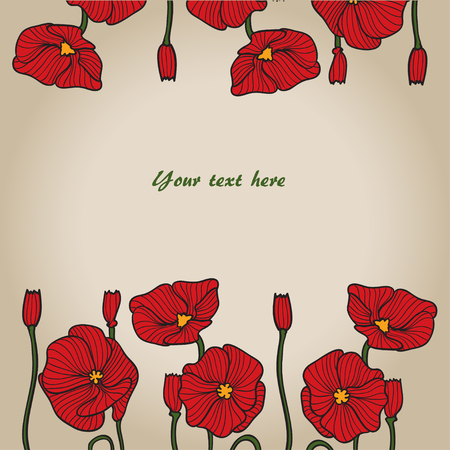 papaver: Poppies vector color sketch. Background for design