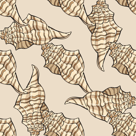 hand-drawn vector pattern of seashell. background for design